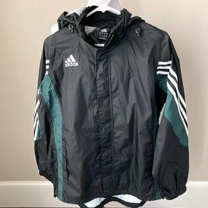Adidas black windbreaker with tuck away hood